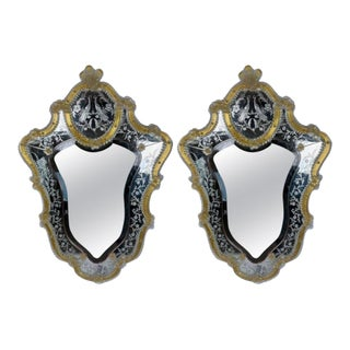 1970s Gold and White Venetian Shield Form Glass Mirrors - a Pair For Sale
