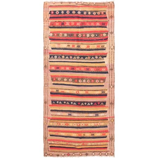 Traditional Beige Kilim Stripe Wool Runner - 4′5″ × 9′8″ For Sale