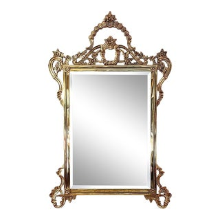 Vintage French Louis XV Style Solid Brass Mirror For Sale
