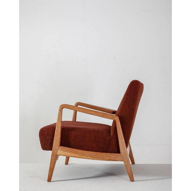 Mid-Century Modern Jens Risom Walnut Lounge Chair with Red-Brown Wool Cushions, USA, 1950s For Sale - Image 3 of 10