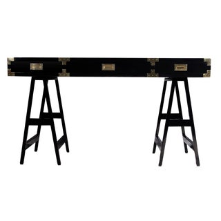 Campaign Modern Style Black Lacquer Study Desk For Sale