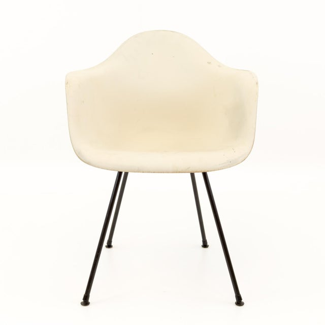 Herman Miller Eames for Herman Miller Mid Century Molded Plastic X-Base Shell Chairs - a Pair For Sale - Image 4 of 11