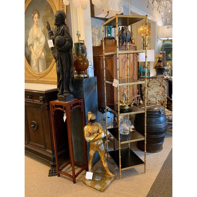 Black Gilt Metal & Lacquered Faux Bamboo Étagère in the Style of Maison Jansen For Sale - Image 8 of 10