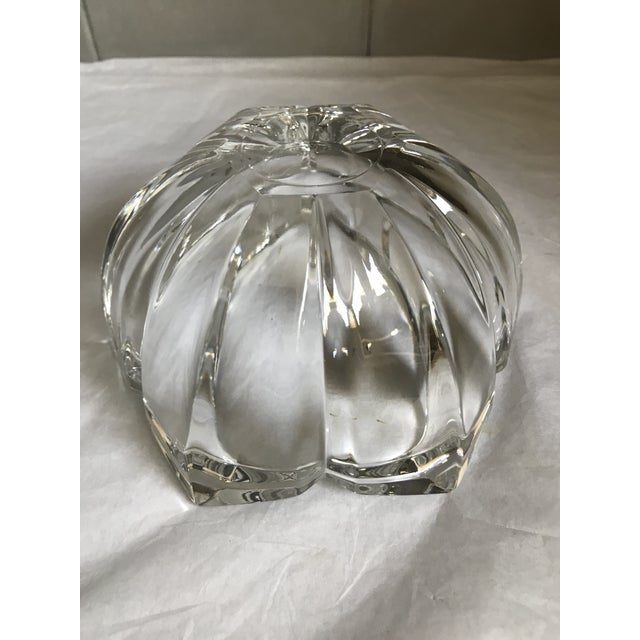 Glass Vintage Heavy Thick Crystal Lotus Flower Candy/Dish For Sale - Image 7 of 9