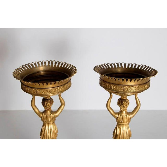 Early 19th Century Pair of French Empire Gilt Bronze Centerpiece Tazzzas For Sale - Image 9 of 13