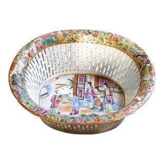 Rose Mandarin Porcelain Chestnut Basket For Sale