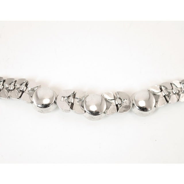 Art Deco Engel Brothers Rhodium Sterling & Crystal Necklace 1930s For Sale - Image 11 of 13