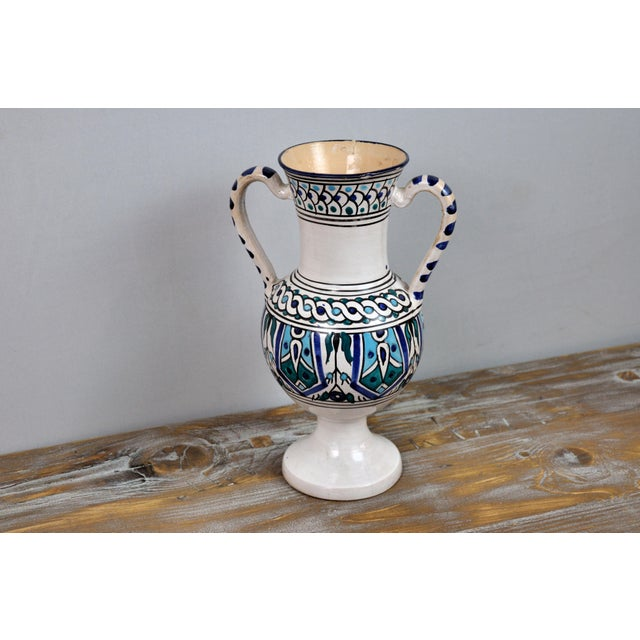 Handpainted Vintage Italian Blue and White Decorative Vase For Sale - Image 10 of 13