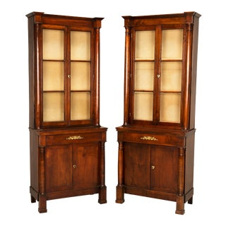 """Antique French """"Tres Petite"""" Empire Bookcases Fully Restored - a pair For Sale"""