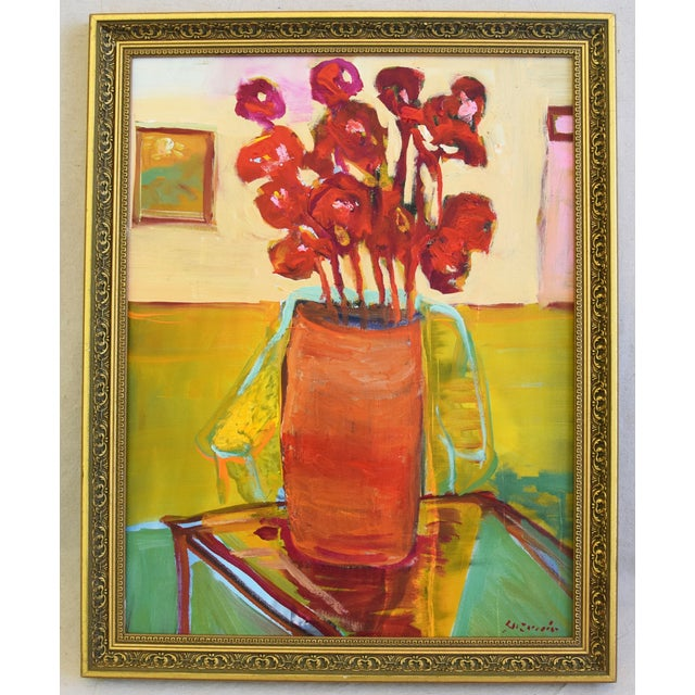 Original Juan Pepe Guzman Floral W/Red Flowers Oil Painting For Sale - Image 9 of 10