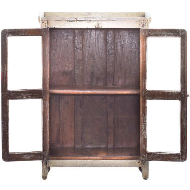 Navajo White Wooden Cabinet With Mesh Panels - Image 2 of 5