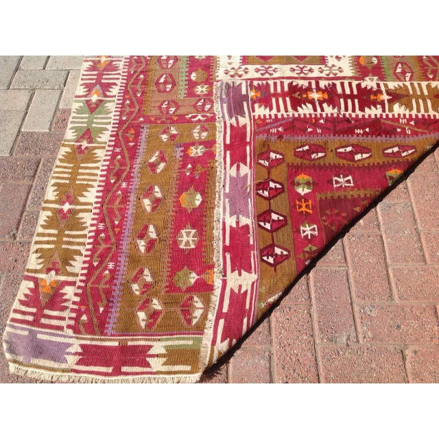 "Vintage Turkish Kilim Runner - 4'8"" x 11'4"" For Sale In Raleigh - Image 6 of 6"