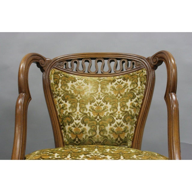 Pair of Vintage Hollywood Regency French Style Squiggle Loop Back Living Room Chairs For Sale - Image 5 of 11