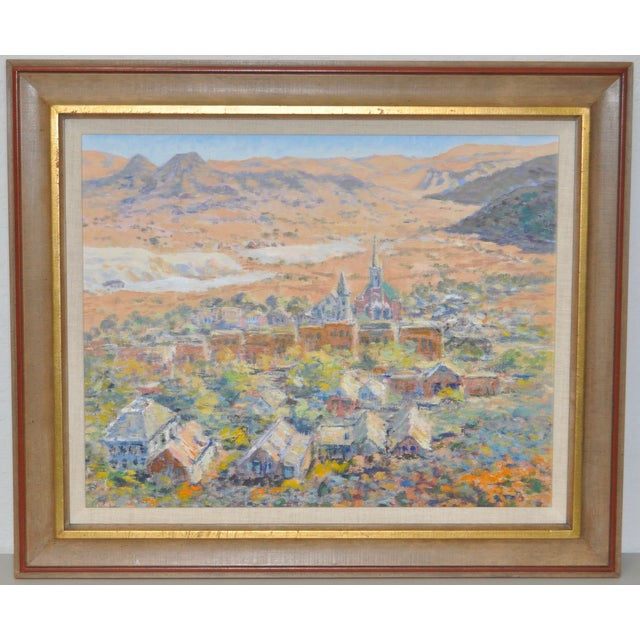 Dating to this 1950s, this is a beautiful oil painting depicting a mountain village landscape. This could be any mountain...