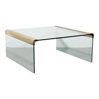 Square Brass and Glass Coffee Table For Sale