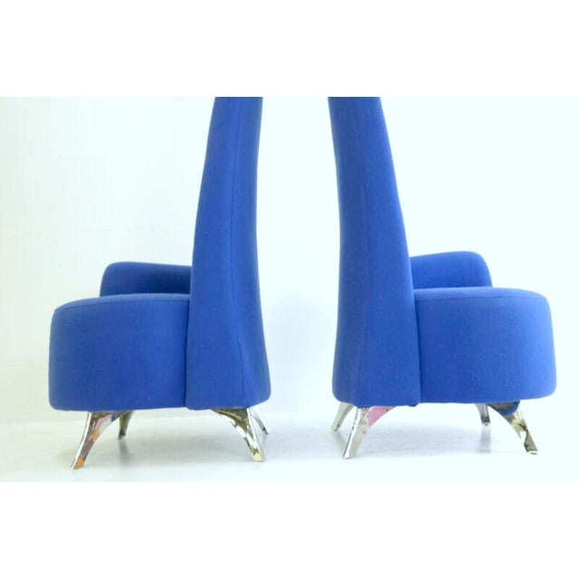 Modern Italian High Back Chairs - A Pair - Image 8 of 8