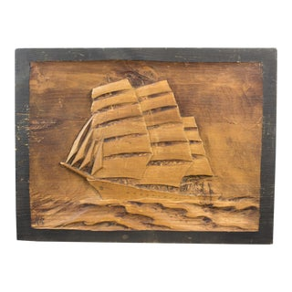 Nautical Carved Wood Plaque For Sale