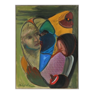 Surrealist Figurative Abstract in Oil, 1966 For Sale