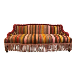 Custom Made Sofa in Vintage Flat Woven Kilim For Sale