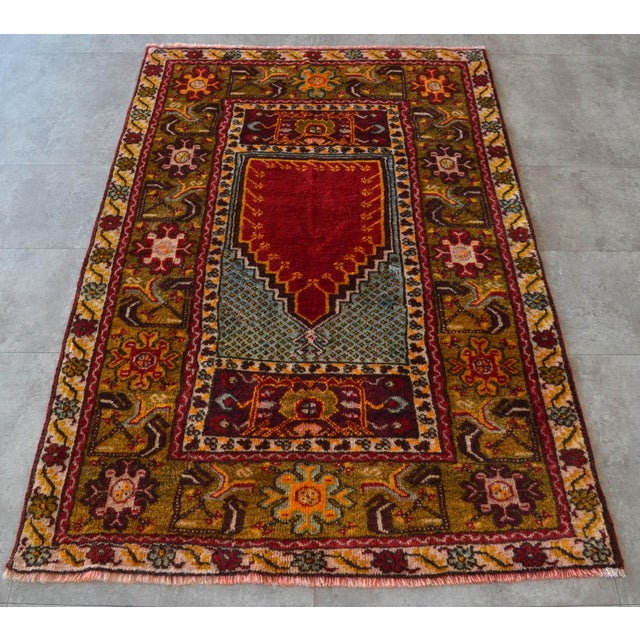 """Antique Turkish Rug Hand Knotted Prayer Rug - 3'4"""" X 5' For Sale In Raleigh - Image 6 of 12"""