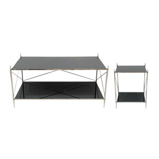 Wade Accent Coffee & End Table Set, Black Mirrored Top, Bottom Shelf for Storage, Living Room, Contemporary- Nickel Plating For Sale