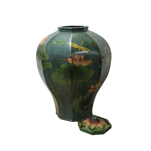 Chinese Village Vintage Wood Octagon Teal Blue Lacquer Jar Shape Display For Sale - Image 4 of 7