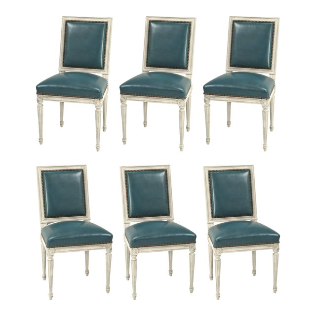 French Louis XVI Style Dining Chairs - Set of 6 For Sale