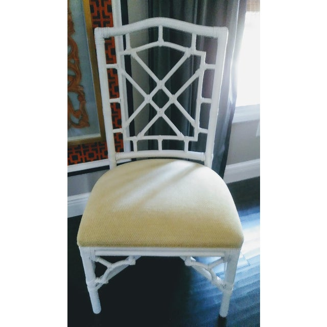 Chippendale Set of 4 Palm Beach Regency White Chippendale Fret Work Dining Room Chairs For Sale - Image 3 of 8
