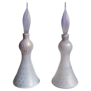 Alfredo Barbini Murano Purple Gold Flecks Italian Art Glass Perfume Decanters - a Pair For Sale