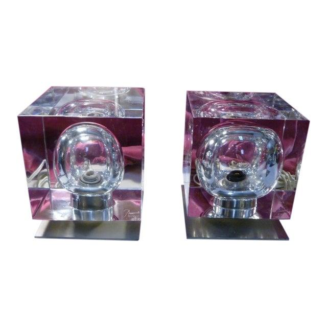 1970's Vintage Robert Rigot- P Baccarat Cube Lamps- A Pair For Sale