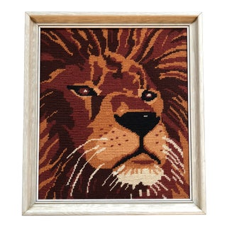 Vintage Fun Lion Original Needlepoint Framed For Sale