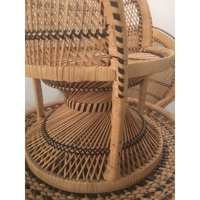 1970s Rattan Wicker Peacock Children's Dining Table Chairs Set For Sale - Image 5 of 12