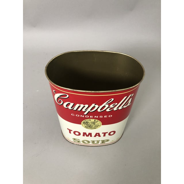 Vintage Campbell's Metal Waste Paper Pail in usual oval shape. Popularized by Andy Warhol Made in the USA.