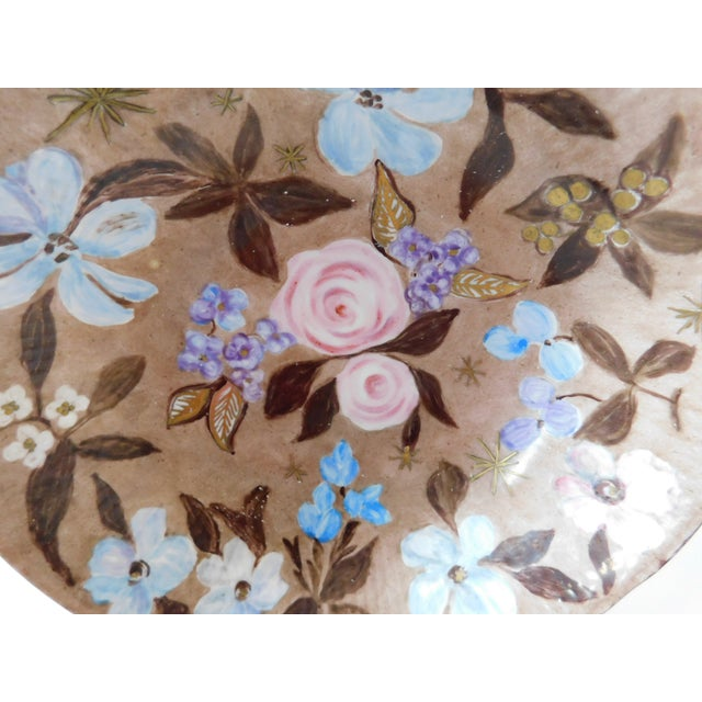 Blue Hand-Painted Swedish Floral Porcelain Bowl For Sale - Image 8 of 13