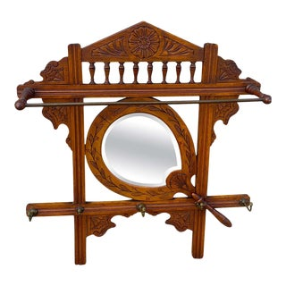 Late 19th Century American Aesthetic Hanging Mirrored Hall Rack For Sale