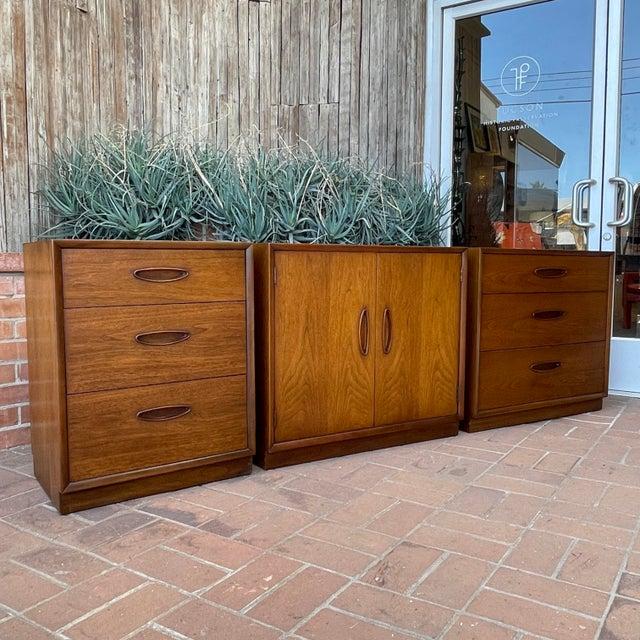 Henredon 'Circa 60' Walnut Cabinets - Set of 3 For Sale - Image 11 of 13
