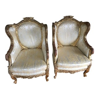 19th Century Vintage European Gold Gesso Upholstered Chairs- A Pair For Sale