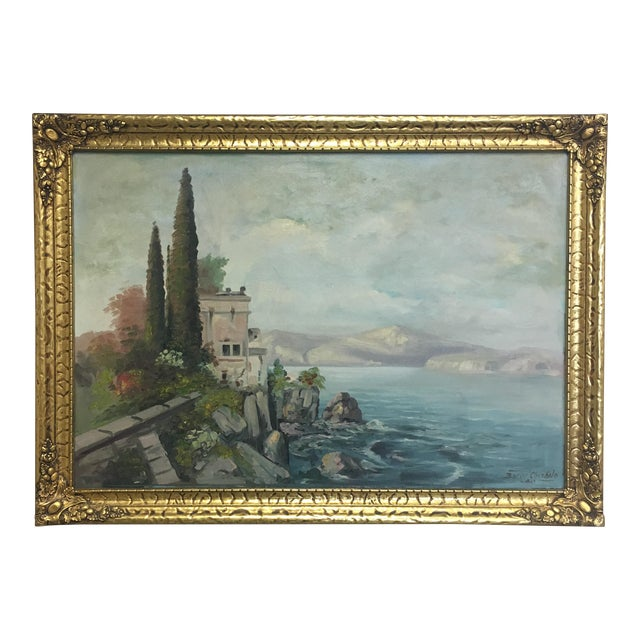 Vintage European Seascape Oil Painting For Sale