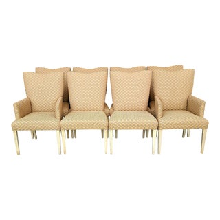 Contemporary Art Deco Klismos Tapered Leg Water Lilly Pattern Dining Chairs - Set of 8 For Sale