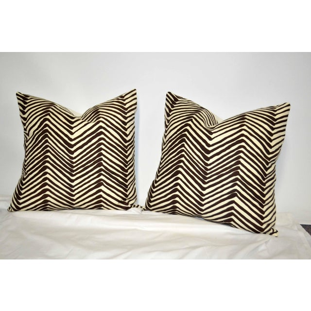 """Stunning , China Seas Quadrille, brown and ivory, printed 20"""" x 20"""" pillow set, with fully-serged zippers and down inserts."""