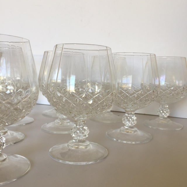 Cristal d' Arques Diamond Faceted Brandy Snifter Glasses by Cristal d'Arques - Set of 10 For Sale - Image 4 of 8