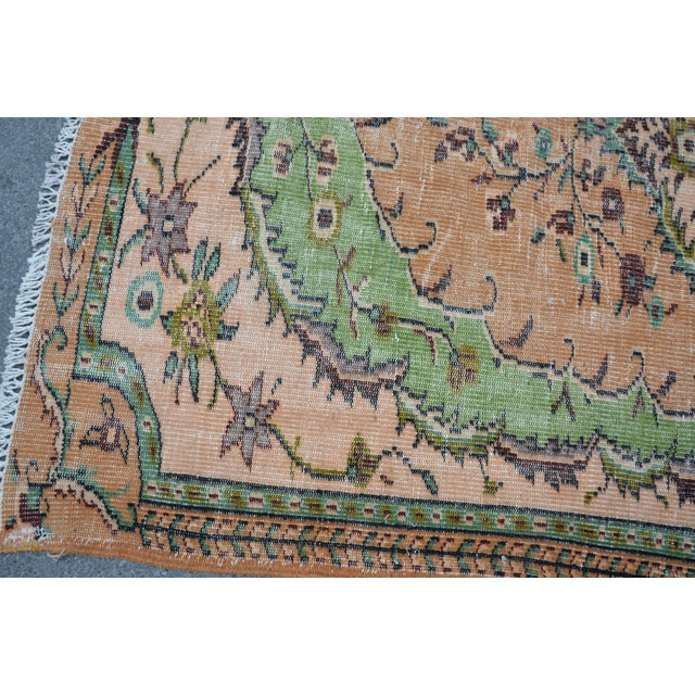 Modern Turkish Oushak Handwoven Green and Orange Wool Floral Rug For Sale In Austin - Image 6 of 7