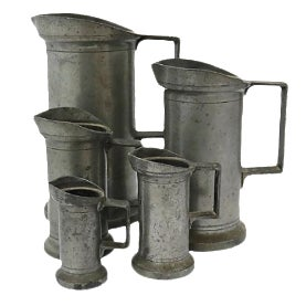 Antique French Pewter Measures - Set of 5