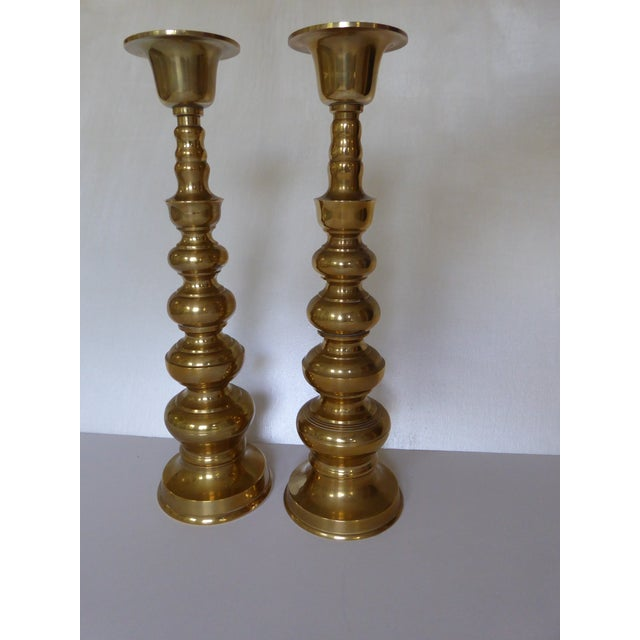 Glorious matching heavy brass mid century Japanese Candle Holders. We decided to present them with just a light dusting in...