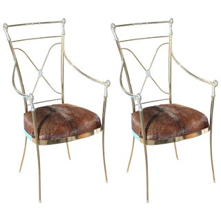 Pair of Hollywood Regency Midcentury Brass and Chrome Armchairs For Sale