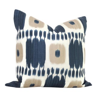 "20"" x 20"" Blue Tan Kandira Ikat Decorative Pillow Cover For Sale"