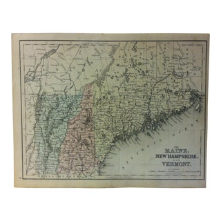 "1880s Antique Mitchell's Modern Atlas ""Maine - New Hampshire & Vermont"" Map For Sale"