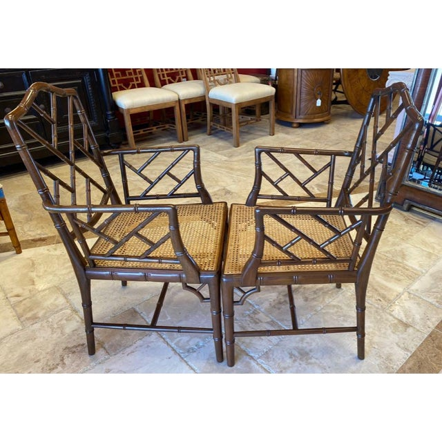 Late 20th Century Vintage Chinese Chippendale Faux Bamboo Armchairs or Host & Hostess Chairs - a Pair For Sale - Image 5 of 11