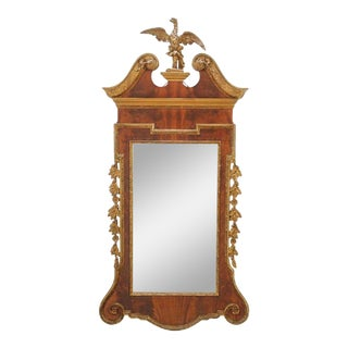 Antique Chippendale Style Mahogany Gilded Carved Mirror For Sale