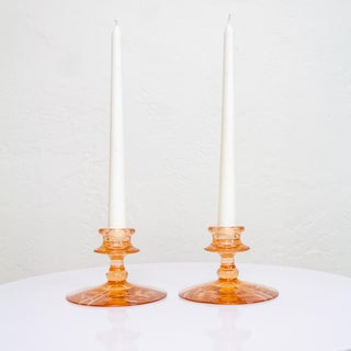 Pink Depression Glass Candlesticks | Candle Holders Preview